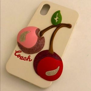 Coach iPhone X cherry white case